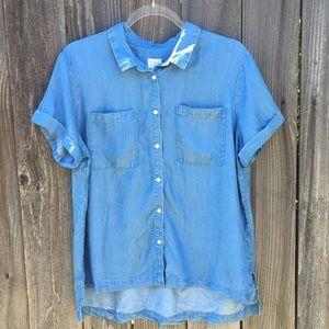 NWOT! Short Sleeve Chambray Shirt Sz L